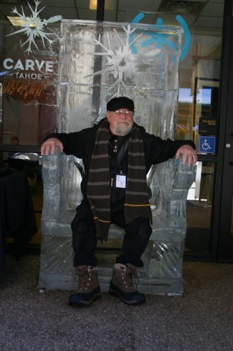 His Noble Highness on a frozen throne outside the Carve Tahoe lounge